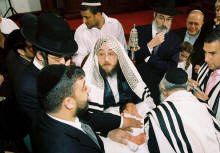 Rabbi Yitzchak Selmar, Mohel with the Byaleh Rebbe at the Fenster baby Bris